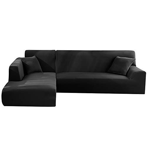 LITTLEGRASS Sofabezug Sofaüberwürfe für L-Form Elastische Stretch 2er Set für 3 Sitzer + 3 Sitzer(190-230cm) Schwarz