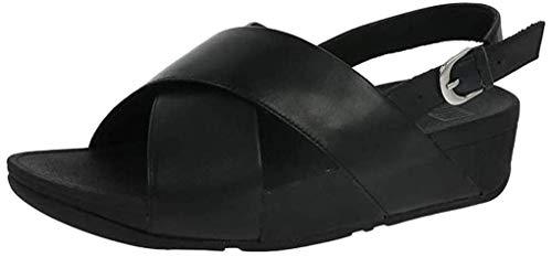 Fitflop Lulu Cross Back-Strap Sandals-Leather, Sandalia con Pulsera para Mujer