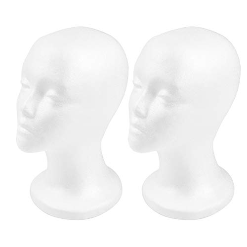 Styrofoam Wig Head - 12' 2PCS Female Foam Mannequin Head Stand and Holder for Style, Model and Display Hair, Hats and Hairpieces, Mask for Home, Salon and Travel