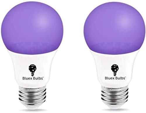 LED Black Light Bulb, 9W A19 E26 Blacklight Bulb Level 385-400nm, Body Paint, Glow in The Dark Party LED Light Bulb Neon Glow Fluorescent Poster by Bluex Bulbs (2 Pack)