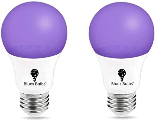 2 Pack LED Black Light Bulb, 9W A19 E26 Blacklight Bulb Level 385-400nm, Body Paint, Glow in The Dark LED Light Bulb Neon Glow Fluorescent Poster Black Bulb