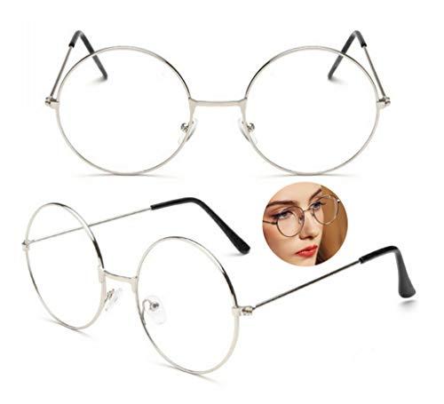 PCWS Runde Vintage Retro Brille | Schwarz Rosegold Silber | Damen Herren Unisex | Metall Beatles Sixties Nerd Gamer Rund (Silber)