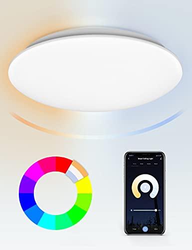 Maxsure Lamparas de Techo, 24W 2400LM, Plafon LED Techo, RGBW, 2700k-6500k, Lampara LED Techo, Control por APP y Voz (Alexa y Google Home), Modo de Música, IP54 Impermeable, para Salón, Cocina, 35CM