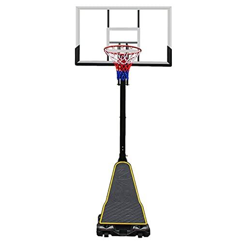 Canasta de Baloncesto Soporte Y Aro De Baloncesto Portátil, Regulación para Niños Y Adultos Regulable En Altura, con Tablero De Impacto Transparente De 130CM / 51'