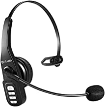 Trucker Bluetooth Headset 5.0 with Microphone Noise Cancelling Wireless Headset On Ear Headphone 22H for Cell Phones iPhone Trucker Home Office Online Class Call Center Skype Zoom