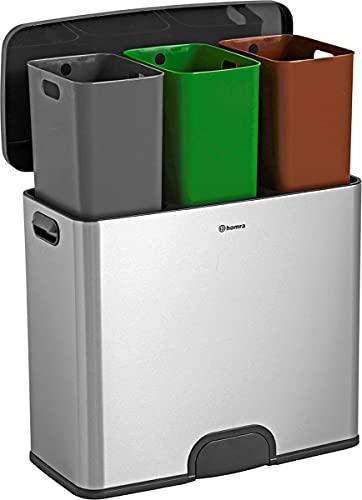 Homra Cubo de reciclaje con sensor de 45 L (3 x 15...