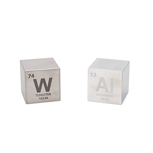 Tungsten & Aluminum 1.5' Cube Set - Engraved Elemental Symbol