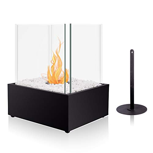 BRIAN & DANY Ventless Cube XL Tabletop Fireplace Somkeless Clean Indoor Outdoor Fire Pit Portable Fire Bowl Pot Bio Ethanol Fireplace in Black w/ Fire Killer and Pebbles