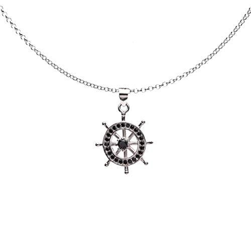 Remo Gammella - Collar con colgante de plata 925 bañada en oro blanco y circonitas negras, collar con colgante de plata y circonitas negras, longitud 48-51 cm