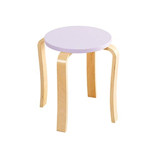stool solid wood fashion creative table home simple living room small chair thickening adult dining chair modern minimalist Chairs (Color : Purple)