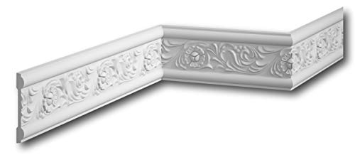 MARDOM DECOR Wandleiste I MDC217 I Friesleiste Stuckleiste Profilleiste zur universellen Gestaltung von Wänden Täfelung und Rahmen I 240 cm x 7,8 cm x 1,3 cm