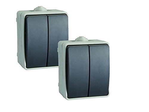 2er-Set Aufputz-Serienschalter - Feuchtraumschalter, Kunststoff, IP54