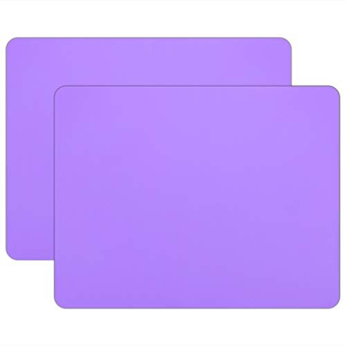 """23.6"""" x 19.7"""" Silicone Crafts Mat, Gartful Extra Large Silicone Sheet, Non-stick Table Cover Protector Pad for Jewelry Casting Molds, Nail Art, Epoxy Resin, Glitter Slime, Paint, Purple, Set of 2"""