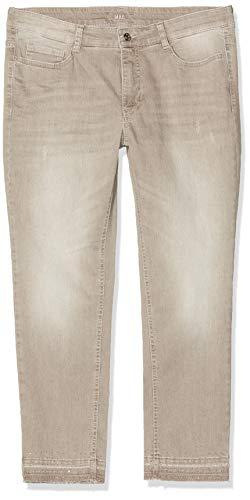 MAC Jeans Damen Angela Pipe Fringe Glam Straight Jeans, Braun (Nougat Authentic Wash D751), W44/L27 (Herstellergröße: 44/27)