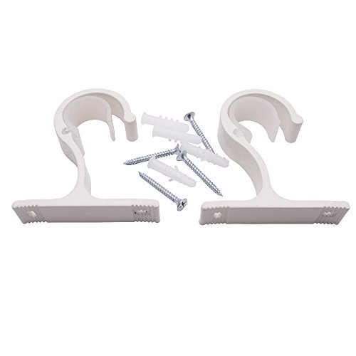 Sydien 2 Pcs Curtain Rod Brackets/Holder with Mounting Screws and Wall Anchors for Drapery Curtains Rod (Ivory White)