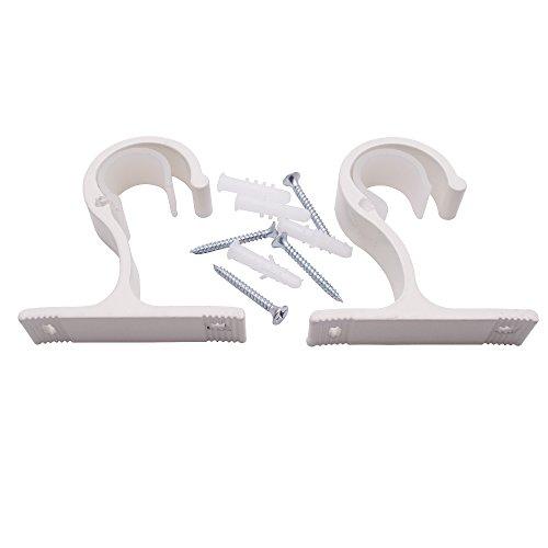 Sydien 2 Stück Gardinenstangenhalter mit Befestigungsschrauben und Wandankern für Gardinenstange und Gardinenstange elfenbeinweiß