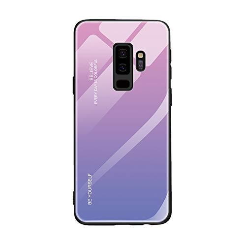 Imak Funda para Samsung Galaxy S9, [Degradado Color] Dureza 9H Capa de Vidrio Templado + Hoja de PC Sólida + Marco Suave de TPU, Antideslizante Anti Rasguños Borde Cobertura Cáscara (Orquídea)
