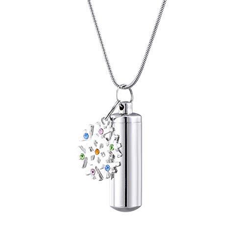 HooAMI[ホーアムアイ] メモリアルペンダント 防水 遺骨 ネックレス キーホルダー両用 雪の結晶チャーム ステンレス 3.8cmx1.1cm