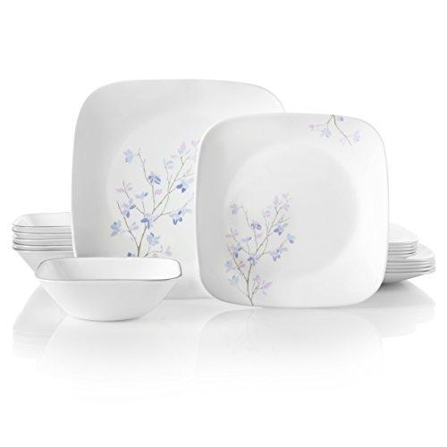 Corelle Service for 6, Chip Resistant, Jacaranda Dinnerware Set, 18-Piece