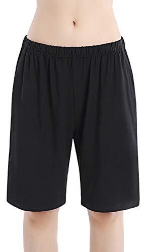 HBY Women Pajamas Shorts Cotton Black Long Sleep Shorts Stretchy Lounge Shorts with Pockets, Black, M