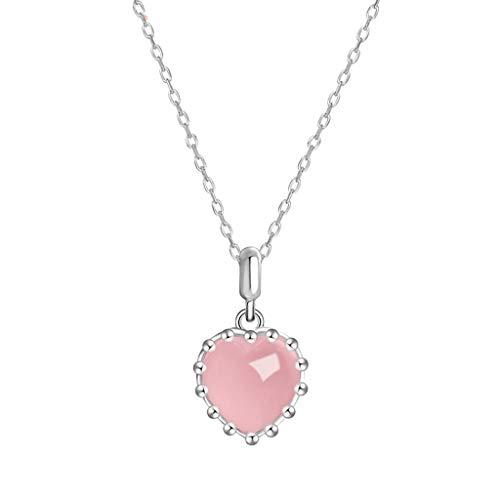 OMING Collares Cristales Rosados Naturales de curación del corazón Collar de Cristal de Cuarzo Collares Pendientes joyería for Las Mujeres de Las señoras de Chicas Colgantes de Mujer