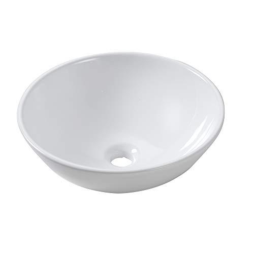 Lordear 13x13 Small Round Bowl Bathroom Vessel Sink Modern White Above Counter White Porcelain Ceramic Vessel Vanity Sink Art Basin