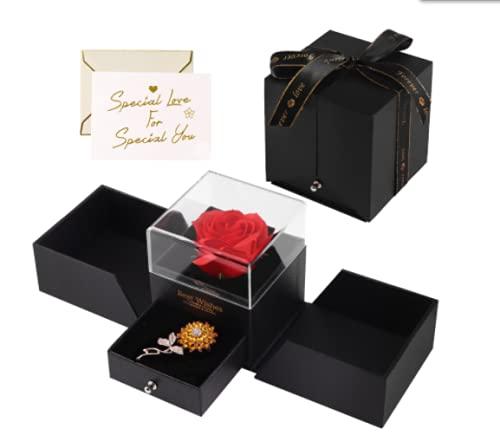 Minterest Rosa Bella y Bestia,Rosa Eterna con Broche de Girasol y Tarjeta,Regalos Dia del Madre,Aniversario,Pascua