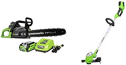 Greenworks 14-Inch 40V Cordless Chainsaw, 2.0 AH Battery Included CS40L210 with 13-Inch 40V Cordless String trimmer/Edger, Battery Not Included 21332