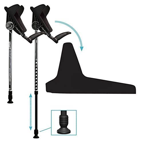 smartCRUTCH Racer Series Forearm Crutch 15-90 Degree Rotation - 2 Ergonomic Walking Aids, Adjustable 4'4-6'7 Adult Athlete Elderly Injury/Disability, Mobility Support - Large, Just Black
