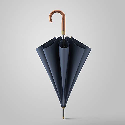 Nuevo paraguas largo de madera hombres negocios vintage grandes paraguas resistente al viento simple viaje al aire libre paraguas lluvia mujeres - gancho gris