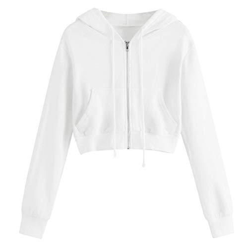 Ylovego - Sudadera Casual para Mujer, con Cremallera y Cuello elástico, para Mujer Blanco M