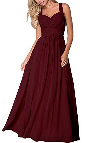 Roiii Elegant Abendkleid Maxi Chiffonkleid V-Ausschnitt Strand Boho Party Kleid Casual Große Größen Cocktailkleid(48(Tag XXXL),Weinrot)