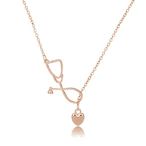 yunshenbuzhichu Edelstahl Herzschlag Kardiogramm Armband Stethoskop Frauen-Armband-Armbänder, rosafarbene Halskette gold1
