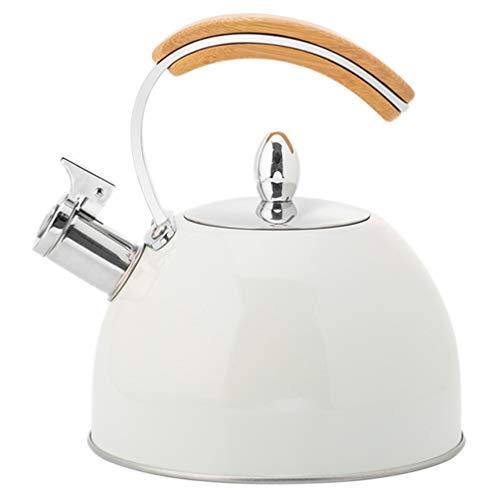 Cabilock Bollitore a fischio, 3 l, in acciaio inox, per induzione, teiera, teiera, bollitore a fischio, con manico in legno, per cucina, fornello a gas