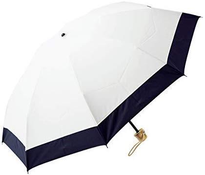 100%完全遮光 99%ではダメなんです! 【Rose Blanc】 3段折りたたみ 日傘 コンビ(傘袋付) 晴雨兼用 50cm (アイボリー×ネイビー)