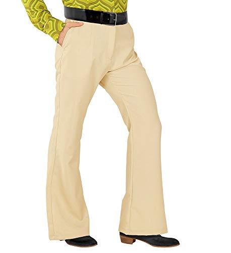shoperama Pantalones retro para hombre, con y sin patrón, disfraz de los años 70, color beige, talla: XXL