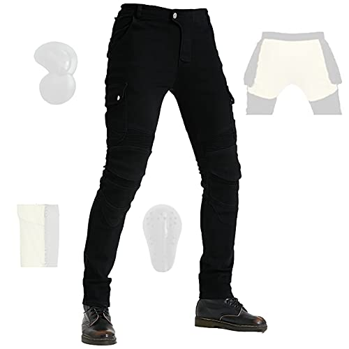 CYLZRCl Nuevos Pantalones Vaqueros Montar Moto Pantalones Moto Pantalones Elásticos Ajustados Carreras Motocross con Armadura CE Extraíble, Ventilado (Color : Black, Tamaño : 3XL)