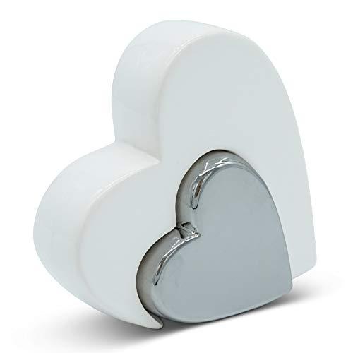 Elegante doble corazón para decoración, moderno corazón decorativo de 12 cm grande en blanco y plata como juego – forma de corazón adecuado como regalo o símbolo de amor