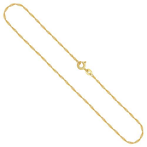 Goldkette Damen Echt Gold 1,2 mm, Singapurkette 750 aus Gelbgold, Kette Gold mit Stempel, Halskette mit Federring, Länge 38 cm, Gewicht ca. 1,4 g, Made in Germany