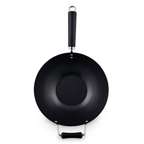 Ken Hom WKH431041 Wok, Color Negro, Acero al Carbono, 31 cm, 4 Pieces