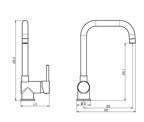 EISL NI182GANI FUTURA – Grifo monomando para fregadero (caño alto, acabado en acero inoxidable)