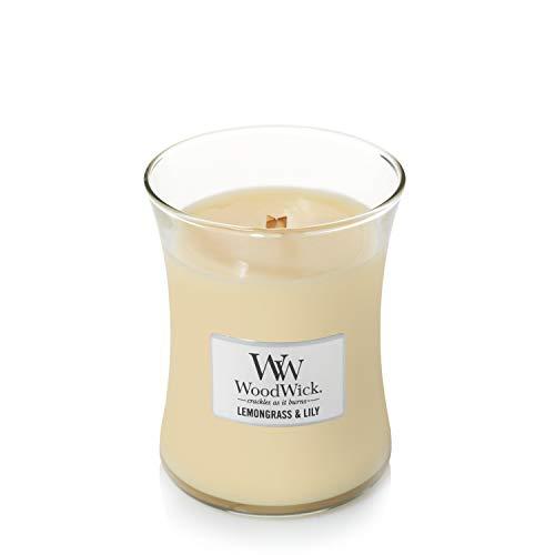 WoodWick mittelgroße Duftkerze im Sanduhrglas mit knisterndem Docht, Lemongrass & Lily, bis zu 60 Stunden Brenndauer