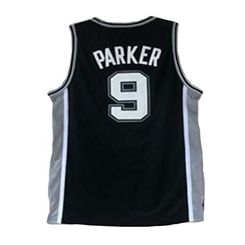 XYHS Herren-Basketballtrikot Tony Parker # 9 San Antonio Spurs - Retro Cooles, atmungsaktives, ärmelloses Fan-Trikot-L