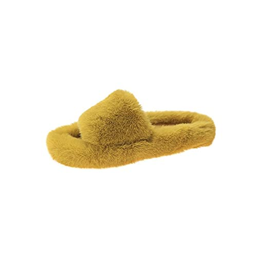 Woman Slippers Winter shoes For Women Platform Home Slippers faux Fur Warm shoes 3cm Heel Female Slides Plus Size 42-Yellow-10