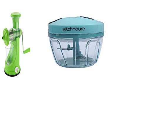 Kitchnaura Combo Fruits Juicer Machine with Steel Handle for Fruits and Vegetables & Multipurpose Manual Vegetable Chopper for Dry Fruit and Onion Handy (Green)