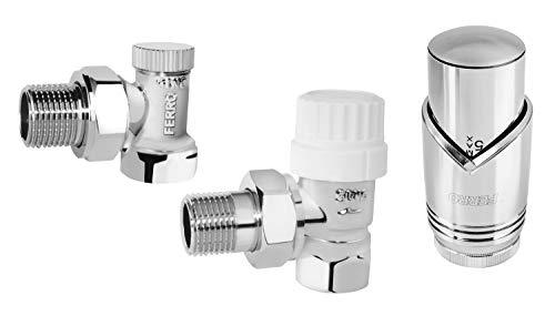 BFG Thermostat-Set, für Heizkörper | Thermostatkopf M30 x 1,5 | Regelventil Eckform 1/2