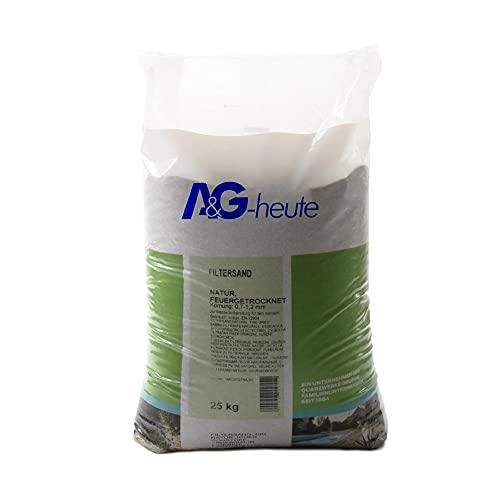 AG-Heute Min2C 25kg Filtersand Körnung 0.7-1.2 mm Poolfilter Teichfilter Quarzsand für Sandfilteranlagen Feuergetrocknet