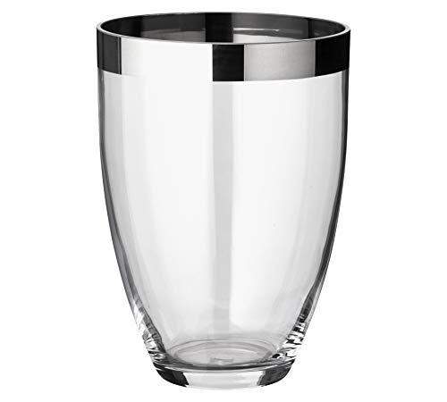 EDZARD Vase Charlotte, mundgeblasenes Kristallglas mit Platinrand, Höhe 20 cm, Durchmesser 15 cm