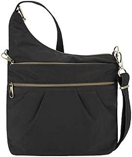 Anti-Theft Signature 3 Compartment Nylon Crossbody Bag - Black
