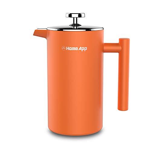 HomeApp French Press/Kaffeebereiter aus Edelstahl, Doppelwandige Französische Kaffeepresse 1 L/8Tassen, Kaffeekanne &Teebereiter mit Edelstahlfilter, mit 2 Extra Filter und Weinausgießer (Orange)